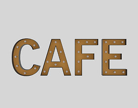 3D model Cafe Sign With Bulb