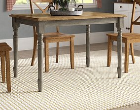 Dannie Rubberwood Solid Wood Dining Table - 2 colour 3D