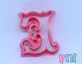 Vintage letter E cookie cutter 3D printable model