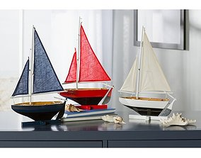 3D Blue-Red-White Cullen 3 Piece Coastal Wood Model Ship