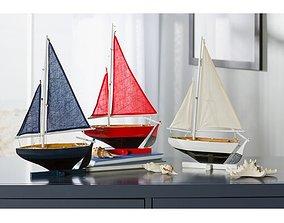 3D Blue-Red-White Cullen 3 Piece Coastal Wood Model Ship