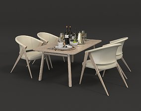 3D model Contemporary Design Table and Chair Set 5