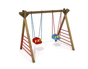3D model Kids Game Equipments 25 Wood Swing