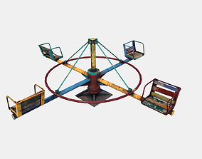 3D asset Old Colorful Carousel