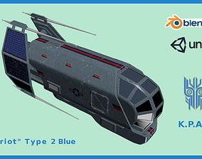 Spaceship Patriot Type 2 Blue 3D asset VR / AR ready