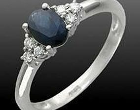 3D print model ring with blue oval sapphire and diamonds