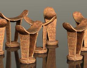 3D model Headrest Africa Wood Furniture Prop 34