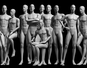 3D asset low-poly Animated Male Base Mesh v2 - 12 poses