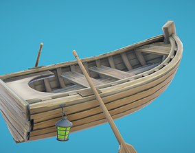 3D asset Rowing Boat Hand-Painted