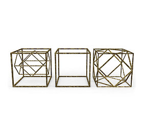 Geometric Decor Objects - Cube Frames 3D model