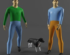 Human and dog 3D model