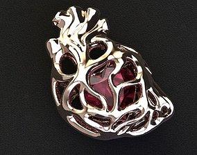 3D print model silver heart pendant