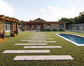 Backyard design swimming pool exterior 3D model