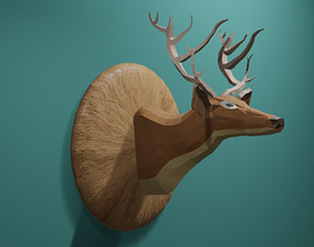 3D asset VR / AR ready Deer Low Poly
