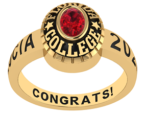 Personalized Class Ring 8 - Oval Gem 3D printable model 1