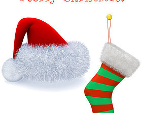 Christmas hat and sox 3D model