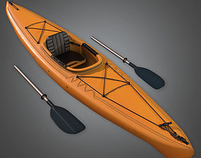 VR / AR ready 3D Kayak and Paddles Camping - CMP - PBR 1