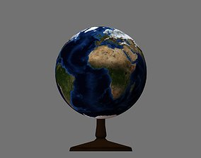 Earth globe 3d model with relief decor