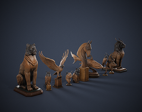 10 Wooden Statues Pack 3D