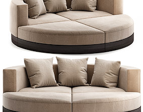 realtime Curved Sofas - Ottoman Sleeper Bed 3d model