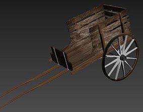 3D asset low-poly handcart