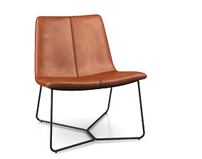 3D model Slope Leather Lounge Chair by West Elm