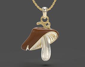 3D printable model Mushroom enameled and blank pendant set