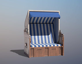 Roofed Wooden Beach Seat 3D asset low-poly