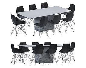 3D asset Vondom Faz Dining Table and Chair