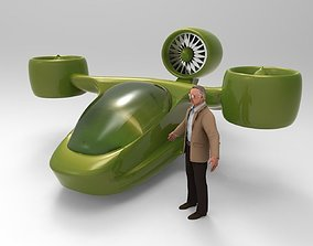 Futuristic Tricopter Aircraft 3D model