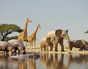 african animals low-poly 3D model
