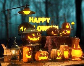 Happy Halloween Pumpkins Scene - PBR 3D asset