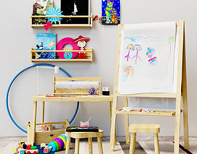 Childrens decor easel Ikea set 3D model