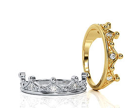 Crown Ring Band R BA 0047 3D printable model