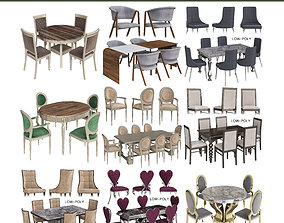 Dinning table low poly 3d model collection realtime