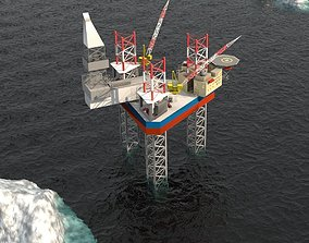 Maersk Drilling Oil Rig offshore Low-poly 3D game-ready