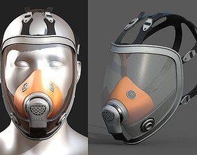Gas mask helmet 3d model military low-poly 1
