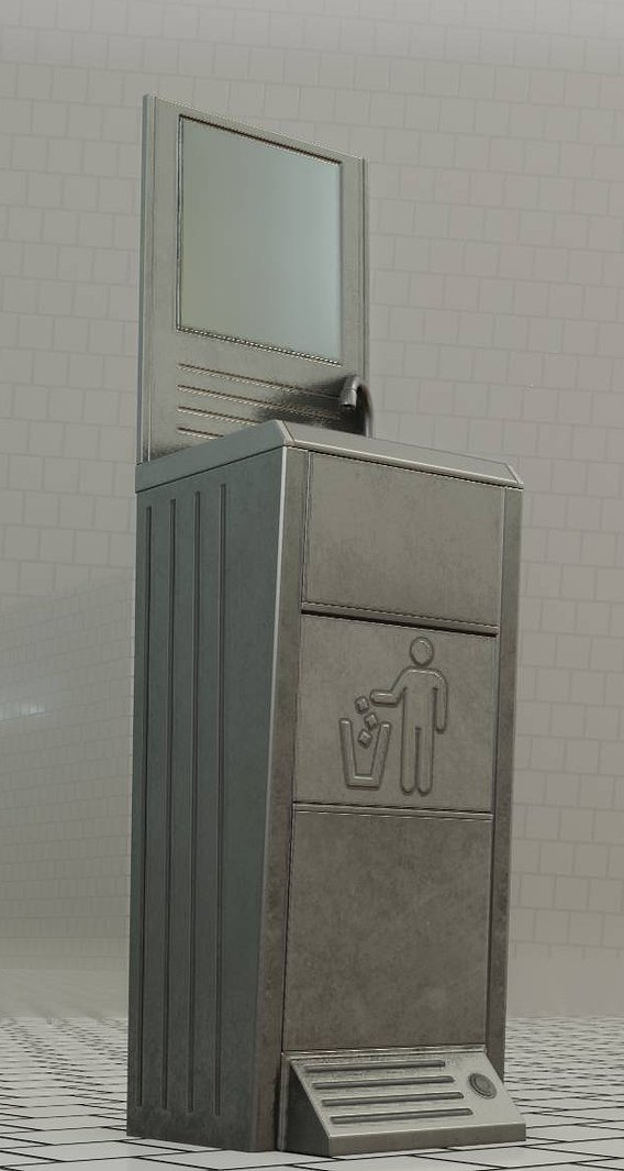 Public Metal Sink - 25 - with Mirror and Trashcan Low-poly