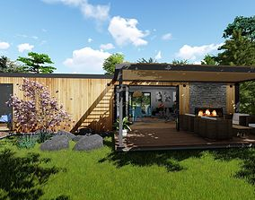 modern house vacation home mobile home 3d model game-ready