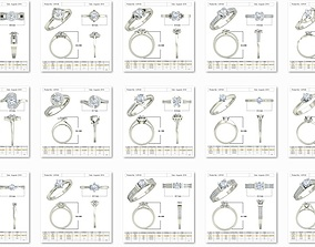 100 Bulk Women Solitaire ring Collection 3dm stl detail 1