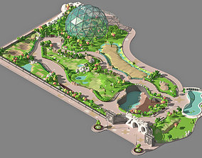Low poly zoo 3D model