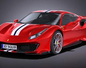3D model LowPoly Ferrari 488 Pista 2019