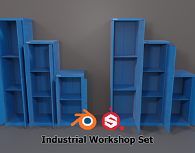 3D asset Industrial Workshop Narrow Bumped Cabinets Solid