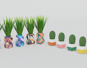 Cactus and Little Plant Pots 3D model