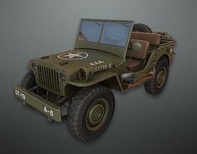 Lowpoly PBR Military Jeep 3D asset
