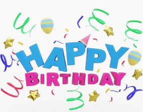 3D asset VR / AR ready Happy Birthday Logo