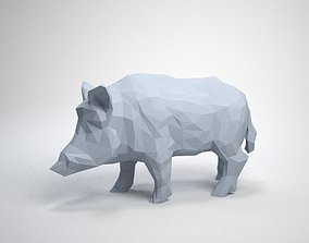 lowpoly 3D print model Wild Boar