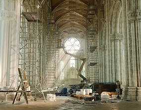 3D Church Interior Restoration Scene