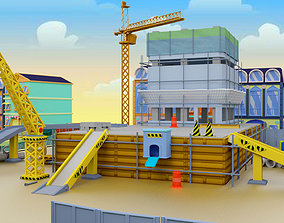 3D model Building Construction cartoon