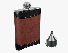 3D Liquor flask stainless steel leather wrap 01